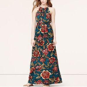 Ann Taylor Loft Women's Blue Floral Halter Maxi dr